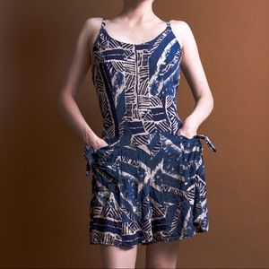 Vintage 90s blue abstract print pocket romper